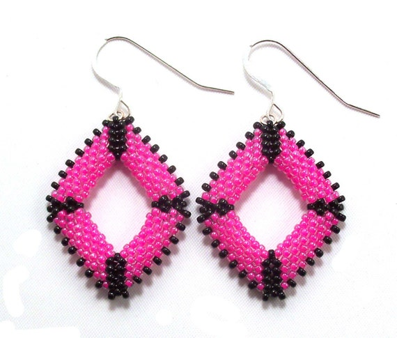 Punk Hot Pink & Black Beaded Earrings