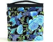Special Needs Bag/ Walker Bag/ Stroller Bag/ mothers Day Gift/ Aqua Blue and Black Oriental Fabric
