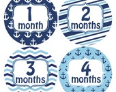 Nautical Baby Sticker, Blue Baby Boy Stickers, Baby Photo Props, Monthly Sticker, My First, I Can Stickers, Document Baby Milestones, (137)