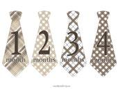Monthly Stickers, Monthly Age Sticker, Brown Plaid Necktie Sticker, Baby Age Sticker, Baby Photo Prop, Nursery Decor, Necktie Stickers (230)