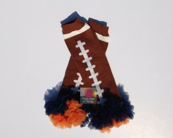 Navy and Orange Chiffon Ruffled Football Leg Warmers, Bears Baby, Broncos Baby, Baby Girl Ruffled Legwarmers, Baby Girl Bears, Baby Broncos