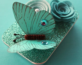 Butterfly Altered Gift Card Holder, Keepsake Mini Tin/ Turquoise Butterfly