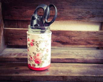 Roses Jar, Cottage Chic Home Decor, Shabby Chic Jar with Coral Roses, Upcycled Glass Jar
