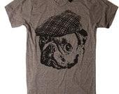 Mens Pug in a Vintage Newsboy Hat T Shirt - American Apparel Tshirt - S M L XL XXL (15 Color Options)
