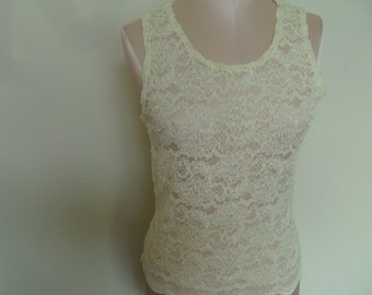 Vintage Sheer Camisole Ivory Lace Victoria's Secret Size Large