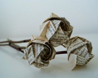 Rose bouquet-Old book origami roses with natural twigs-environment friendy-Mother's day gift-10 stems-Thank you teacher bouquet