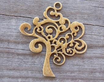 6 Bronze Tree Pendants 42mm Antiqued Bronze Tree Of Life Charm