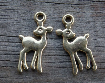 24 Tiny Gold Deer Charms 21mm