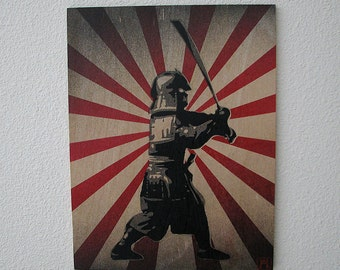 Samurai Multilayer Graffiti Stencil Art on Wood Panel