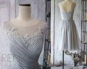 2016 Grey Bridesmaid Dress, Chiffon Cocktail Dress, A line Gray Prom Dress, Short Lace Wedding dress, Formal dress tea length (F149)-Renz