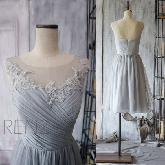 2015 Grey Bridesmaid Dress, Chiffon Cocktail Dress, A line Gray Prom Dress, Short Lace Wedding dress, Formal dress tea length (F149)-Renz