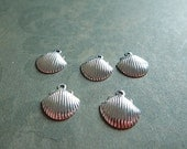 5 Bright Silver Plated Brass Tiny Clamshell Seashell Charms Stampings Single Sided 50% OFF