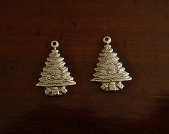 50% OFF SALE!! 2 Pc Antiqued Sterling Silver Plated Brass Christmas Tree with Gifts Charms Stamping
