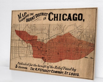 Great Chicago Fire Vintage Inspired Solid Maple Wood Sign
