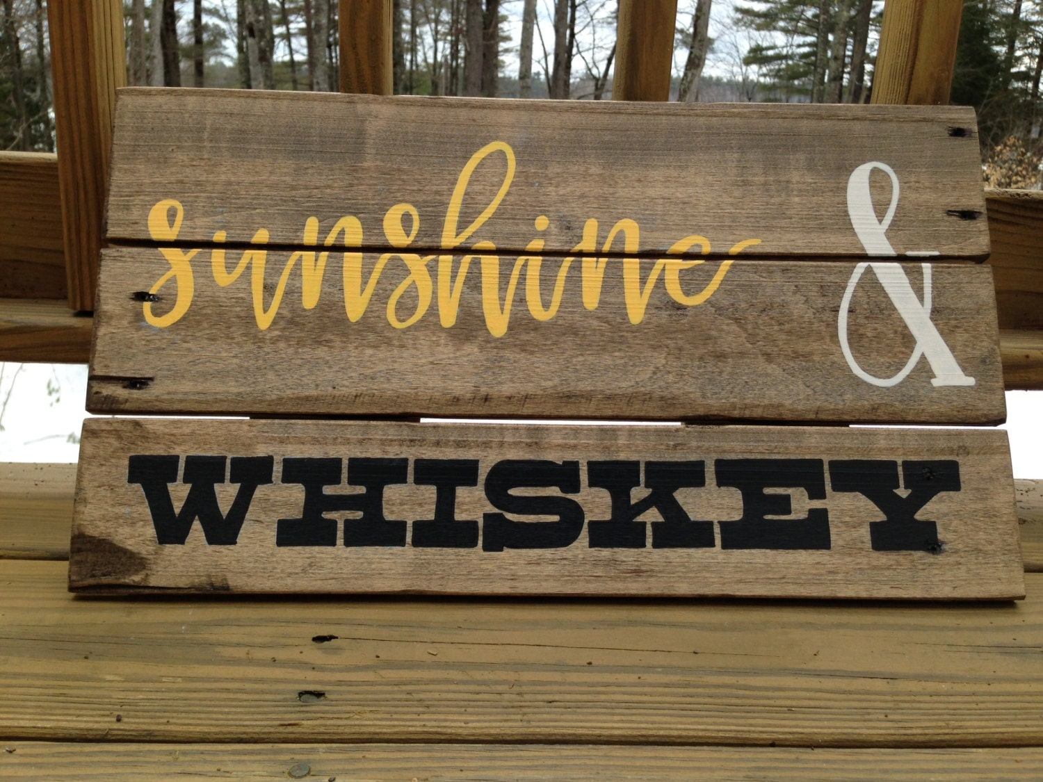 Sunshine And Whiskey Reclaimed Wood Sign Rustic Wall Art