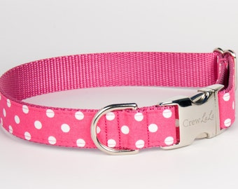 White Dot on Pink Dog Collar