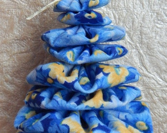 Blue and Yellow Shabby Chic Christmas Tree Ornament