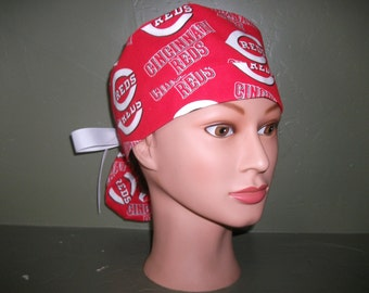 Reds ponytail scrub cap