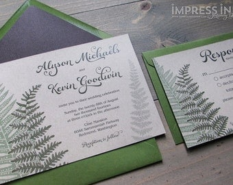 Ferns Wedding Invitation Sample | Flat or Pocket Fold Style