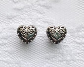 Silver Etched Floral Embroidery Design Heart Vintage Style Wedding Pair Plugs Gauges Size: 0g (8mm)