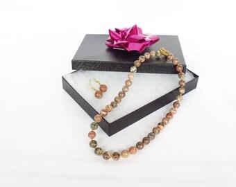 Jasper Necklace Leopardskin Jasper Necklace & Earring Set Gemstone Jewelry Set Gemstone