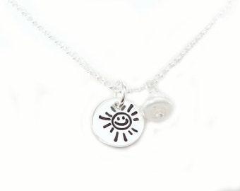 A Little Hawaiian Sun  - Sterling Silver Hand Stamped Smiley Sun Jewelry - Birthday-Wedding- Anniversary Gift