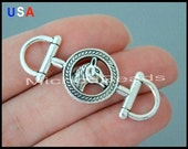 5 HORSE Stirrup Charm Connector - 42x14mm Horse Snaffle Link Connector - Horse Bit Equestrian Charm - USA Wholesale Charms - 5990