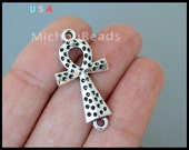 1 Egypt ANKH CROSS Connector Link - 31x16mm Textured Sideways Cross of Life Link Connector Metal Charm - Instant Ship - USa DIY - 6335