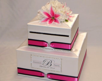 Elegant Custom made Two tier Card Box, Hot Pink and Black accents