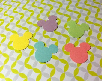 50 Yellow, purple, green, blue and pink MICKEY MOUSE Hand Punched Die Cut  for Scrap Booking, Easter cards, Baby, Spring and many other uses