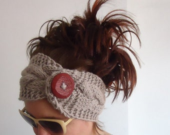 Hand Knit Button Collar Cowl Women Wool-Brown Ear Warmer Hairband Warm  Hat Boho - Gift under 25