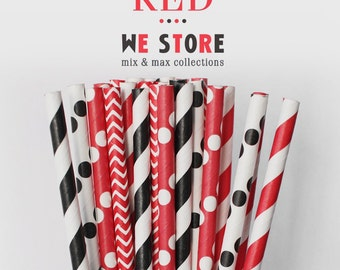 25 PAPER STRAW with free printable DIY Toppers - Black & Red Set