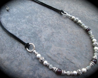 Garnet Leather and Pearl necklace with Labradorite beads and freshwater pearls