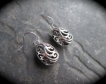 Silver Filigree Dangle earrings with sterling silver filled ear wires