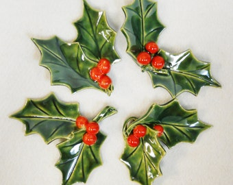 Ceramic Lifesize Holly Sprig with Berries Set of 4