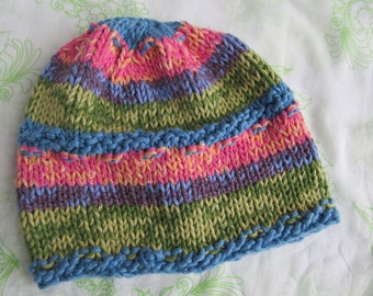 Cotton Handknit Hat or Cap, Chemo Cap, Colorful, for Adult. One of a Kind. Ready to ship now.