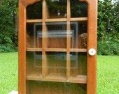 Vintage Wood Curio Cabinet Retro Video Game Etched Glass Atari Man Cave Decor