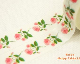Pink Rose - Japanese Washi Masking Tape - 7.6 Yards