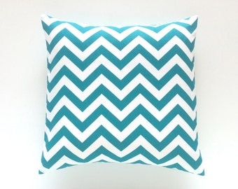 CLEARANCE 50% OFF Turquoise Chevron Decorative Pillow Cover. Turquoise Zig Zag Accent Pillow.