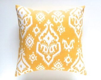CLEARANCE 50% OFF Corn Yellow Ikat Decorative Pillow Cover. Pick a Size. Throw Pillow Cover. Corn Yellow Cushion.