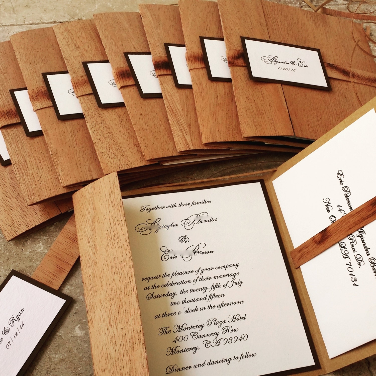 details yes this wooden pocket fold rustic wedding invitation - Wood Wedding Invitations