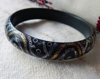 MOORISH Mauritanian Ebony Wood Bangle; Filigree Wire Work in Silver and Brass; Tribal Jewellery; Unusual Piece; Simple Statement Piece.