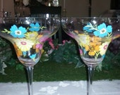 Summer Fun Flowers Margarita Party hand painted glasses