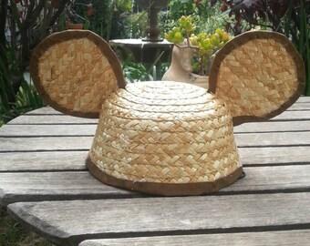 Straw Mickey Ears Hat