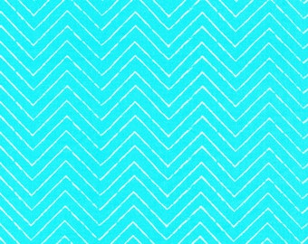 Organic Turquoise/Aqua Chevron Fabric - Cosmic Convoy by Michéle Brummer Everett from Cloud 9 - 1 Yard