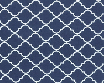 Navy Blue and White Quatrefoil Patterned Fabric - Quattro Piccolo by Moda 1 Yard