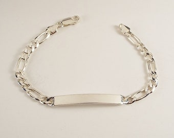 Custom Engraved Personalized Sterling Silver 7 Inch Slim ID Bracelet - Hand Engraved