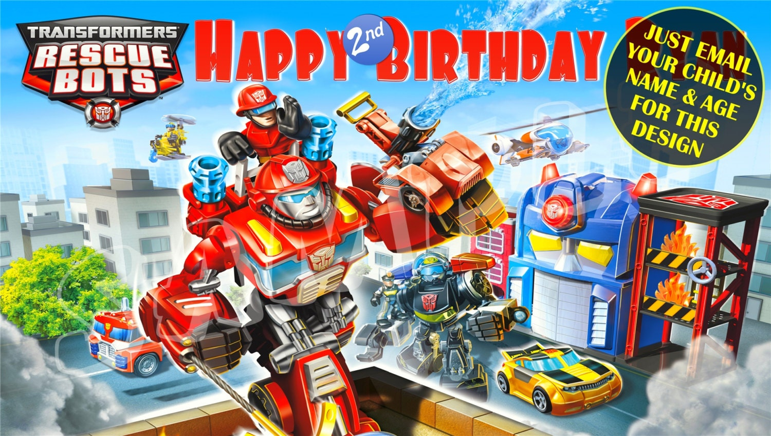 Transformers Rescue Bots Personalized Birthday Banner with