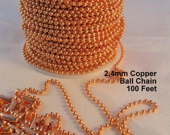 Copper Ball Chain 100 ft, 2.4mm balls, 100 Connectors, Bulk Chain Spool