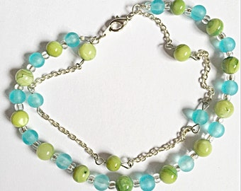 Silver Plated Bracelet - Double Strand Bracelet - Green and Blue Bracelet - Sale Item